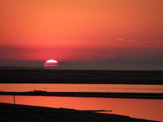 Sunset over river Brahmaputra