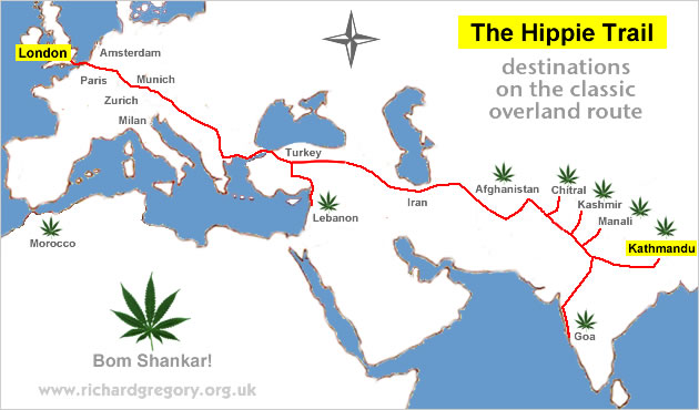 Hippie trail route